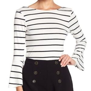 black and white Striped long bell sleeve top nwt